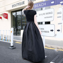 Women BLACK A-Line Ruffle Skirt Lady Taffeta High Waist Midi Pleated Party Skirt image 5