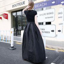 Women BLACK A-Line Ruffle Skirt Lady Taffeta High Waist Midi Pleated Party Skirt image 5