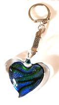 crystal heart with light blue and green colouring handmade in uk from uk made pa