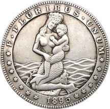 NEW Hobo Nickel 1895 USA Morgan Dollar Girl and Mother Mermaid Bikini CO... - $11.99