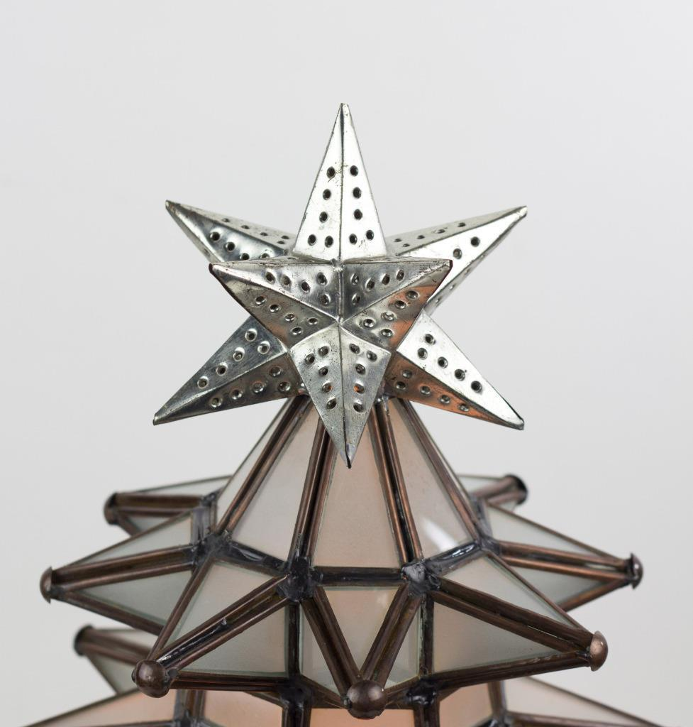 Lighted Christmas Tree Stained Frosted Glass Pierced Metal Tin Handmade Lamp