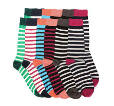 Pack of 12 Men's Premium Cotton Fashion Casual Mid Calf Patterned Dress Socks image 4