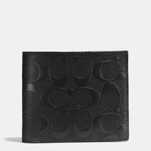Coach F75371 Black Compact ID Wallet in Signature Crossgrain Leather MSR... - $79.99
