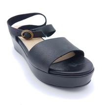 Seychelles Womans Monogram Platform Sandals Black Leather Cushioned Sz 8... - $64.71