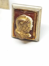 Vintage Double Cameo Cuff Links Gladiator Roman Soldier - $11.69