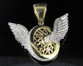 Yellow Gold Finish 925 Silver 1.75ct Diamond Flying Wheels Logo Charm Pe... - £130.10 GBP
