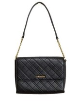 Calvin Klein Chelsea Quilted Lamb Leather Demi Shoulder Bag Purse, Black - $109.00
