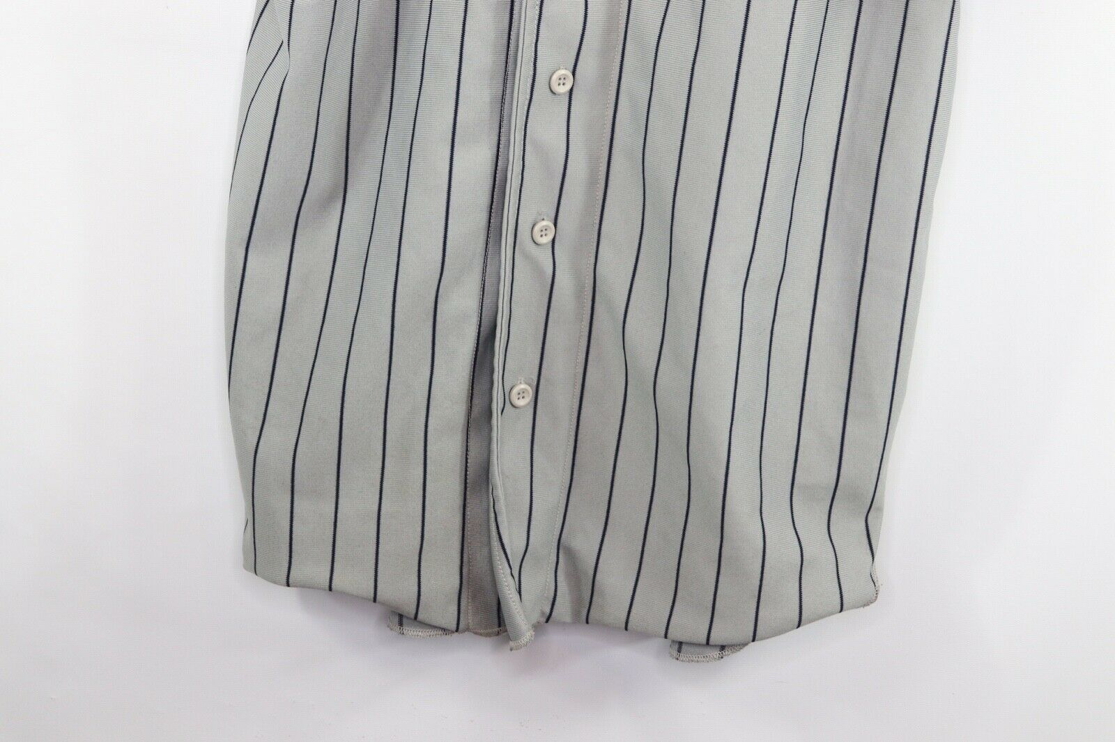 Vintage 90s Mens XL New York Yankees MLB Baseball Jersey Pinstripe Gray Blue image 2