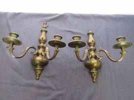 Pair of Solid Brass Two Arm Wall Sconces Candle Holders One with Mounting  - $88.20