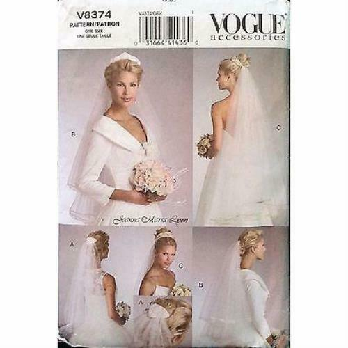 Misses Bridal Veils Vogue V8374 Pattern Joanna Maria Lyon Wedding c1101