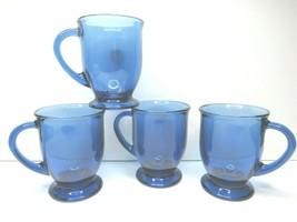 4 Anchor Hocking Cobalt Blue Footed 16 Oz Pedestal Mug Glass Coffee Cup ... - $67.19