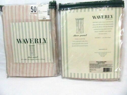 Primary image for Waverly Beau Stripe Rose Pink Cream 2-PC Sheer Drapery Panel Set(s)