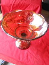 Great Amber CARNIVAL Glass Centerpiece BOWL with Pedestal-Grapes design - $15.25