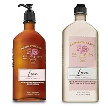 BATH AND BODY WORKS Aromatherapy LOVE - ROSE & VANILLA Duo Body Lotion a... - $18.69