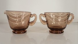 Fostoria Crystal HORIZON Cinnamon Creamer and Open Sugar Bowl Glass - $24.70