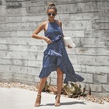 Women's Brand Fashion Halter Polka Dot Wrap Sundress image 2