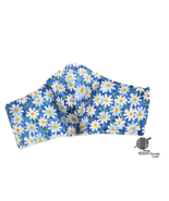 Daisy Face Mask Floral White Yellow Daisies Blue Adjustable Handmade USA - $8.00