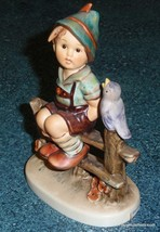 "LARGE ""Wayside Harmony"" Goebel Hummel Figurine #111/I TMK6 Boy On Fence W/ Bird! - $145.49"