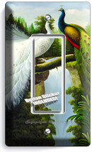 Peacock Birds White Colorful Feathers 1 Gang Gfci Light Switch Plate Room Decor - $8.09