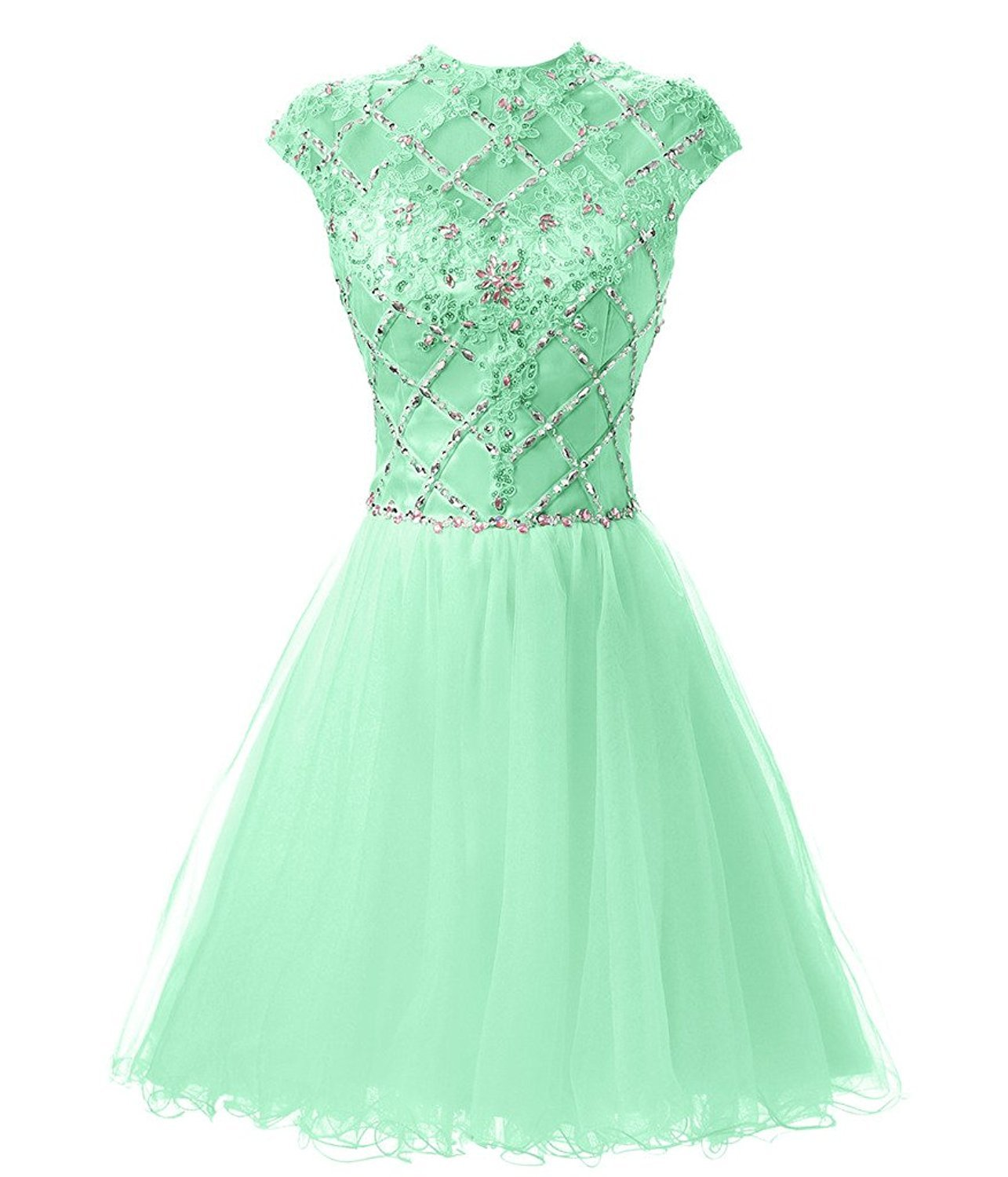 High Neck Prom Dresses Lace Applique Dress High Neck Cap Sleeve Homecoming Dress - $144.00