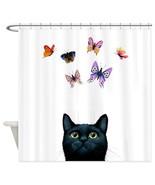 Shower curtains art shower curtain black Cat 606 butterfly art painting ... - $68.99