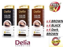 DELIA HENNA / COLOR CREAM EYEBROW PROFESSIONAL TINT KIT SET x 12, Free d... - $55.43