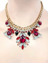 Turkish Inspired Red Rhinestones Statement Everyday Casual Necklace Earrings Set - $20.90