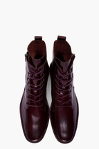 Bespoke Men's Mahroon Leather Lace-Up High Ankle Formal Leather Boots - $139.00+