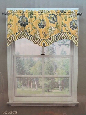 "Traditions Waverly Curtains Refresh Floral Pumice 2 Window Valances 52"" x 16"" ea"