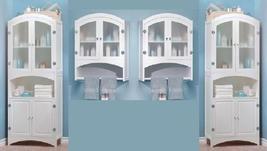 4 pc white wood veiled glass door bathroom wall & floor linen towel cabi... - $532.00