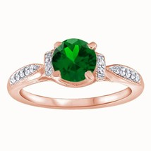 1.25 Ct Round Cut Emerald Solitaire W/Accents Engagement Ring 18k Rose G... - $77.80