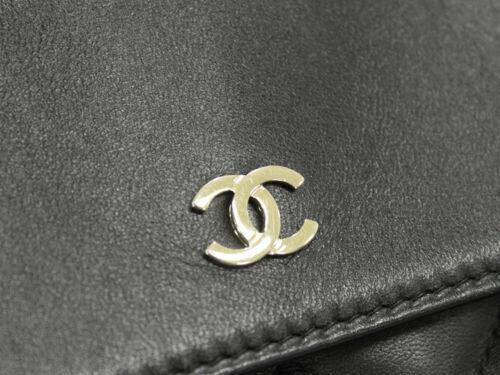 CHANEL Classic Large Pouch Lambskin Black Clutch Bag CC Logo Authentic 5369447