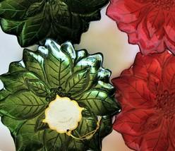 4x Turkish Glass RED & GREEN Glittery Poinsettia Christmas Salad Plates ... - $39.59