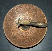 Vintage Israel Copper Nut Cracker Mounted Bowl Signed Tamar 1960's image 2