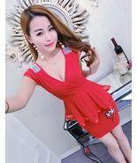PF247 sexy sweet deep V bust blouse, microfiber,free size red - $18.80
