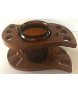 Vintage Wood Pipe Stand and Amber Glass Humidor Multi-functional - $22.00