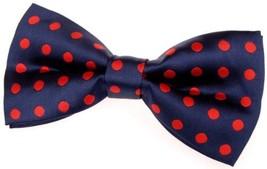 "Retreez Classic Polka Dots Woven Microfiber Pre-tied Bow Tie 5"" - Navy B... - $19.43"