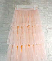 Blush Layered Tulle Skirt Outfit Midi Tiered Tulle Skirt Plus Size Holiday Skirt image 2