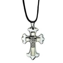 Kreuz Halskette Edelstahl Metall Anhänger Charm Schmuck Herren Damen Unisex - $6.88