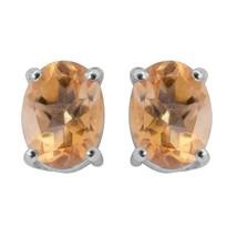 925 Sterling Silver 2.50 Crt. Citrine Prong Set Gemstone Stud Earring - $17.61