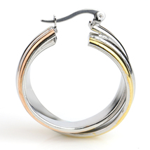 Twisted Tri-Color Silver, Gold and Rose Tone Hoop Earrings- United Elegance image 2