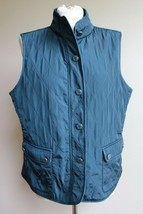 Talbots L Teal Quilted Button Front Fleece-Lined Vest - $24.70