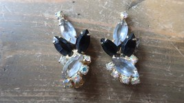 Vintage Rhinestone Clip Earrings Iridescent 4cm - $13.85
