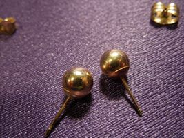 14K Gold Ball Stud Earring Pair image 5