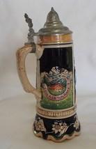 "German Cobalt Ceramic Stein Pewter Lid 9"" Scallop Edge 63 Vintage No Box  - £21.74 GBP"