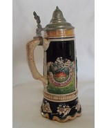 "German Cobalt Ceramic Stein Pewter Lid 9"" Scallop Edge 63 Vintage No Box  - $27.99"