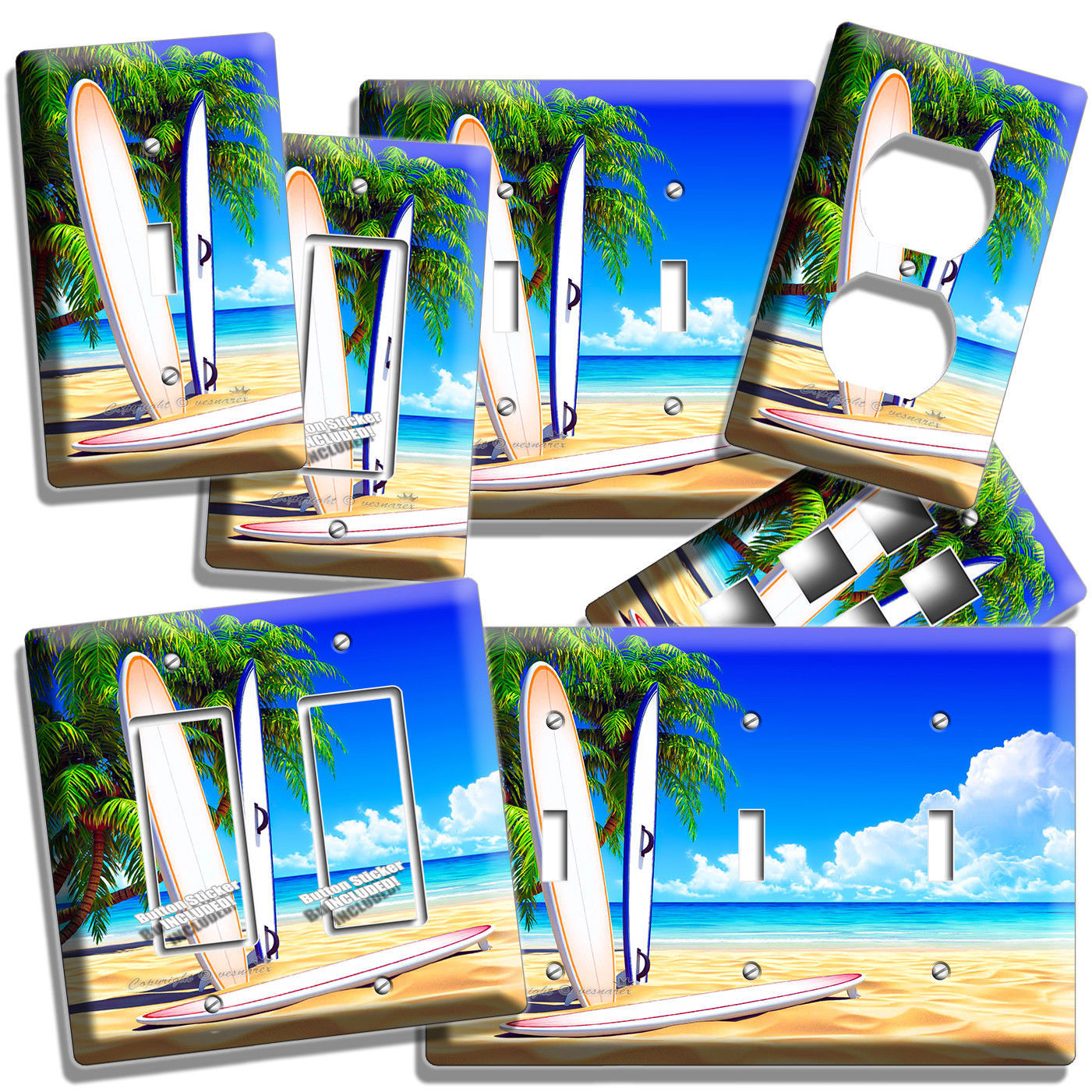 SURFING BOARDS OCEAN PALMS SANDY BEACH LIGHT SWITCH OUTLET WALL PLATE ROOM DECOR - $9.29 - $20.45