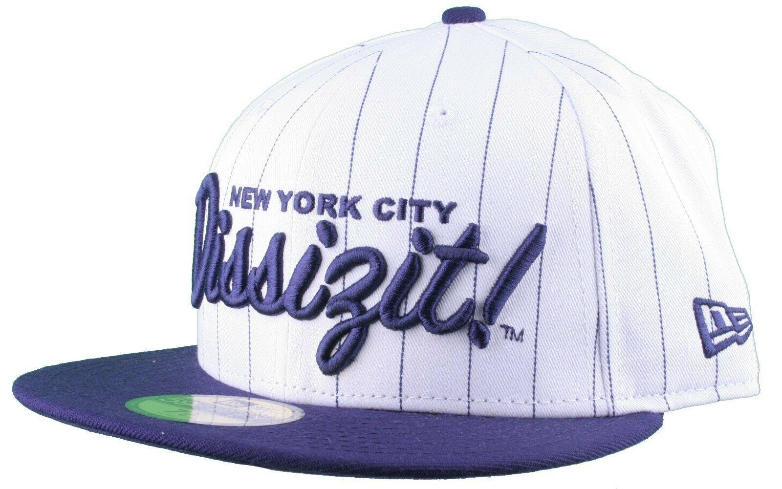 Dissizit NEW ERA Aderente Cappello Baseball Bianco/Navy Pinstripe York City Nyc