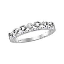 10kt White Gold Womens Round Diamond Rolo Link Stackable Band Ring 1/12 ... - £95.09 GBP