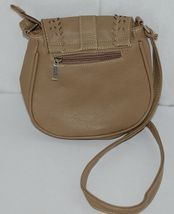 Non Branded Womens Tan Zipper Saddle Bag Purse With Adjustable Shoulder Strap image 3